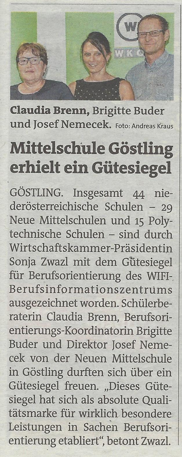 BO Gütesiegel 2018 Bezirksblätter