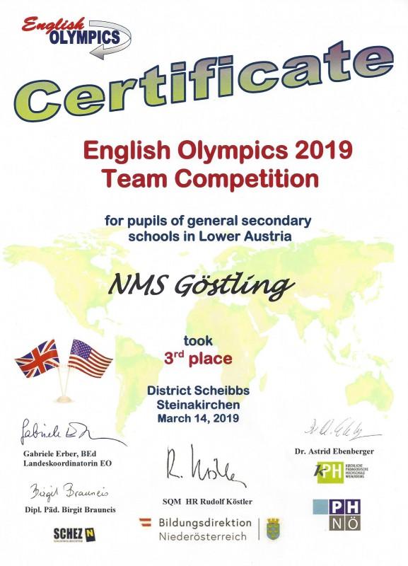 Urkunde E Olympics 2019